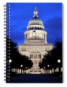 Texas State Capitol Floodlit At Night, Austin, Texas - Stock Image Spiral Notebook