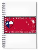 Texas State License Plate With Damage Spiral Notebook