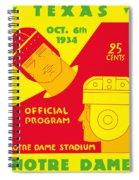 Texas Vs Notre Dame 1934 Program Spiral Notebook