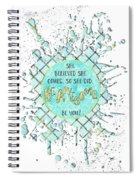 Text Art She Believed - Cyan White - Splashes Spiral Notebook