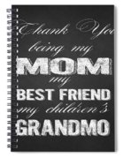 Thank You Mom Chalkboard Typography Spiral Notebook