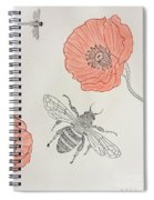 The Bee And Red Poppies  Spiral Notebook