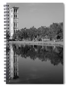The Bell Tower Reflections B W Furman University Greenville South Carolina Art Spiral Notebook