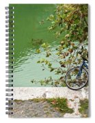 The Bicycle Is A Ubiquitous Form Of Transport In Europe And This Owner Has Literally Gone Fishing. Spiral Notebook