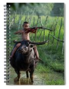 The Boy Playing The Red Violin In Thailand, Asia Spiral Notebook