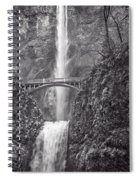 The Bridge At Multnomah Falls In Black And White Spiral Notebook