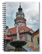 The Cesky Krumlov Castle Tower With A Fountain Below Within The Czech Republic Spiral Notebook
