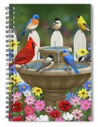 The Colors Of Spring - Bird Fountain In Flower Garden Spiral Notebook
