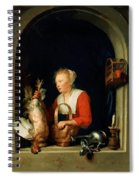 The Dutch Housewife Or The Woman Hanging A Cockerel In The Window 1650 Spiral Notebook