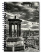 The Edinburgh Skyline, And Dugald Stewart Monument. Spiral Notebook
