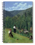 The Farmer And His Son At Harvesting Spiral Notebook