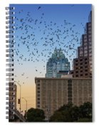 The Frost Bank Tower Stands Guard As 1.5 Million Mexican Free-tail Bats Overtake The Austin Skyline As They Exit The Congress Avenue Bridge Spiral Notebook