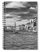The Grand Canal Bw Spiral Notebook