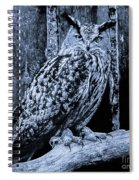 Majestic Great Horned Owl Bw Spiral Notebook