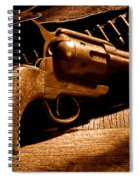 The Gun That Won The West - Sepia Spiral Notebook