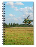 The Helicopter Over A Green Airfield. Spiral Notebook