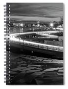 The Icy Charles River At Night Boston Ma Cambridge Black And White Spiral Notebook