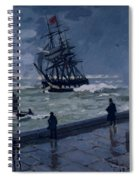 The Jetty At Le Havre In Bad Weather Spiral Notebook