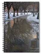 The Mirrored Streets Of Philadelphia In Winter Spiral Notebook