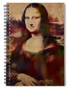 The Mona Lisa Colorful Watercolor Portrait On Worn Canvas Spiral Notebook