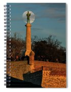 The Moon Rising Behind The Victor Statue In Belgrade In The Golden Hour Spiral Notebook
