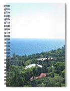 the panorama of the ancient castle on a rock, the symbol of the Republic of Crimea on the background Spiral Notebook