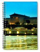 The Philadelphia Art Museum And Waterworks At Night Spiral Notebook