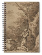 The Prodigal Son Kneeling Repentant Among Swine Spiral Notebook