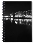 The River Liffey Night Romance Bw Spiral Notebook