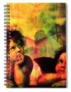 The Sistine Modonna Baby Angels In Abstract Space 20150622 Square Spiral Notebook