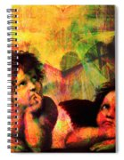 The Sistine Modonna Baby Angels In Abstract Space 20150622 Spiral Notebook