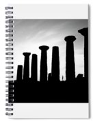 The Temple Of Hercules. Agrigento, Sicily.    Black And White Spiral Notebook