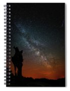 The Trunk Of A Dead Tree, Milky Way And Meteor Spiral Notebook