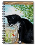 The Tuxedo Cat And The Fish Bowl Spiral Notebook