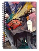 The Unfortunate Land Of Tyrol Franz Marc Painting Of Horses In A Valley Near A Cemetery  Spiral Notebook