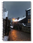 The Village Of Heptonstall In The Snow At Night With Lamps Shini Spiral Notebook