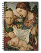 The Virgin And Saint Joseph  Adoring The Christ Child Spiral Notebook