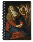The Virgin In Prayer At The Foot Of The Cross, With Crying Angels Spiral Notebook