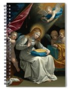 The Virgin Sewing Accompanied By Four Angels. La Couseuse Spiral Notebook