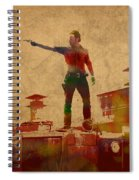The Walking Dead Watercolor Portrait On Worn Distressed Canvas No 1 Spiral Notebook