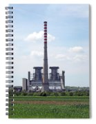Thermal Power Plant On Green Wheat Field Industry Spiral Notebook