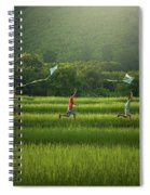 Three Boys Are Happy To Play Kites At Summer Field In Nature In  Spiral Notebook