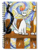 Three Cats On A Fence Spiral Notebook