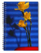 Three Cheers - Yellow Daffodils In A Red Bowl Spiral Notebook