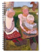 Three Children Sitting On A Hillside With Dog And Horse Spiral Notebook