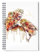 Three Cute Owls Watercolor Spiral Notebook