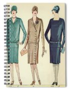 Three Flappers Modelling French Designer Outfits, 1928 Spiral Notebook