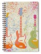 Three Guitars Paint Splatter Spiral Notebook