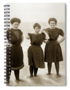 Three Ladies Bathing In Early Bathing Suit On Carmel Beach Early 20th Century. Spiral Notebook