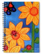 Three Ladybugs And Butterfly Spiral Notebook